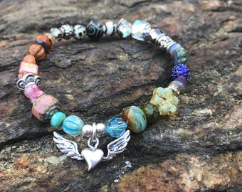 Bracelet, stretch bracelet, beaded bracelet, heart bracelet, stacking bracelet, bead bracelet, boho bracelet