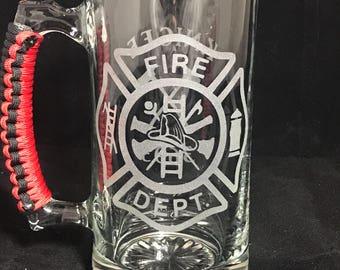 Firefighter Beer Mug // groomsmen gift // personalized beer mug // drinking glass // unique gift