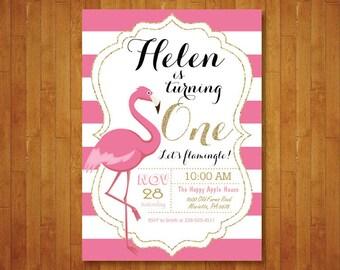 Lassen Sie Uns Flamingle Ersten Geburtstags Einladung. Mädchen Ersten 1.