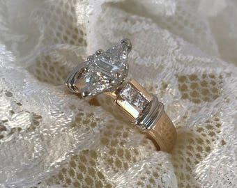 Beautiful 14K Yellow & White Gold Diamond Engagement Ring