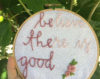 Embroidered hoop art quote, fiber art, nursery decor, wall hanging, home decor, wall tapestry, string art, gift embroidery