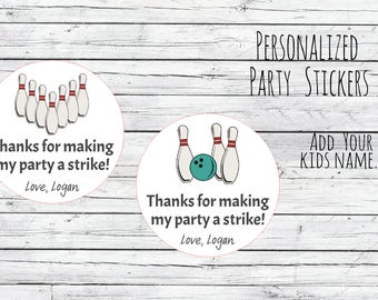 Personalized 12 0r 20 or 35 Bowling Stickers Bowling Birthday Party Favor Tags Night First Birthday, Bowling Alley, Strike Zone, Celebrate