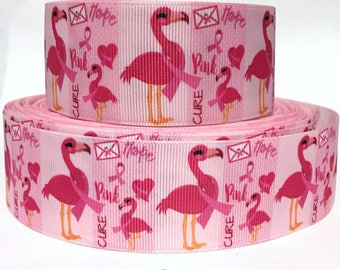 "1.5"" Pink Flamingo  Breast Cancer Awareness Dog Collar - Side Release Buckle (Martingale Option Available)"