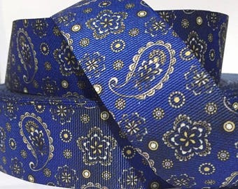 """1.5"""" Denim Paisley Collar with Side Release Buckle (D-Ring Martingale Option Available)"""