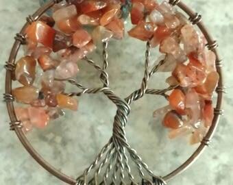 Carnelian Tree of Life Pendant Necklace