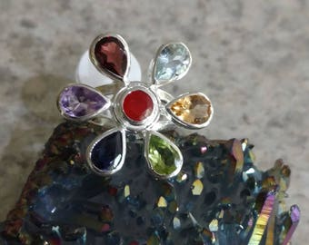 Chakra Gemstone  Flower Ring, Size 7
