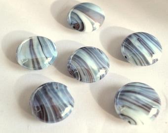 X 4 bluish grey glass beads