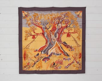 "Authentic HERMES Scarf 100% SILK  Kuggor Tree by Sefedin Colours: Gold, Purple-Brown  Size 90cm x 90cm (35"" x 35"") Made in France"