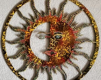 Sun, metal sun, metal art, sun wall hanging, sun wall decor, indoor, outdoor, sun, glittery sun