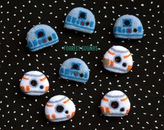 Star Wars BB-8 R2D2 droid needlefelt badge accessories sci-fi cute