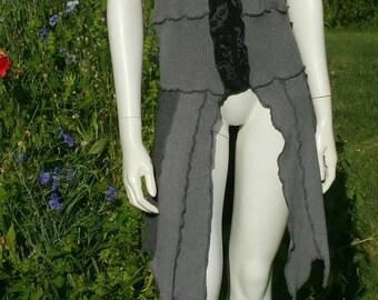 Sleeveless upcycled gradient gray pixie coat size S/M