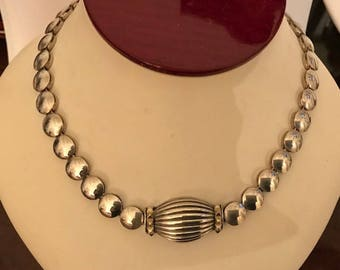 Vintage Sterling Silver and 18K Gold Necklace...STATEMENT PIECE!