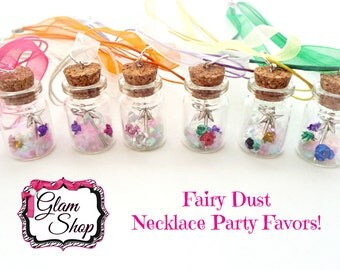 Fairy Garden Party Favors!  Set of 6 Fairy Bottle Necklaces.  Colorful Organza Necklaces with Cork Bottle Pendants filled with Fairy Magic!