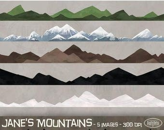 50% OFF Mountain Clipart - Repeatable Pattern Download - Instant Download - Faux Watercolor Seamless Mountains