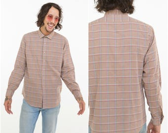Pastel Tone Plaid Shirt / Light Summer Shirt / Size L