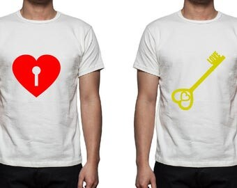 Heart Lock and Key Tee Shirt Design Combo, SVG, DXF, EPS Vector files for use with Cricut or Silhouette Vinyl Cutting Machines