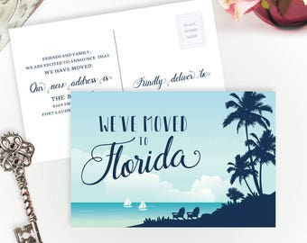 PRINTED we've moved to Florida | Change of address cards | Florida moving | 4X6 moving postcards