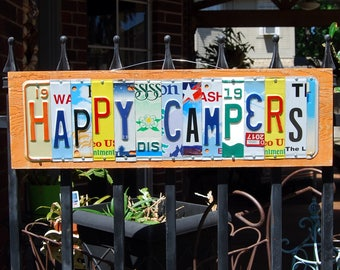 HAPPY CAMPERS custom license plate sign / Gypsy Life / Trailer Trash