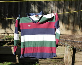 CANTERBURY RUGBY JUMPER striped collar extra large