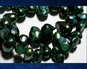 """Pearl, Green - 16"""" strand of small double baroque freshwater pearl beads.  #PERL-322"""