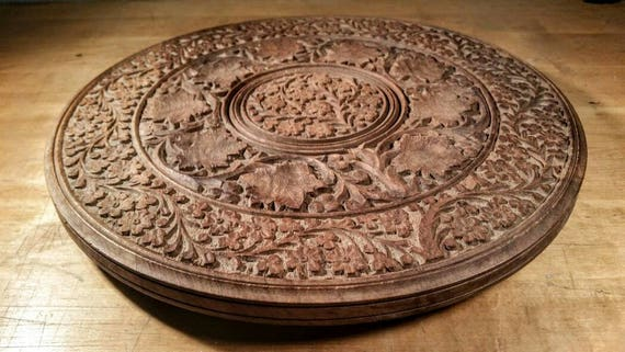 "Vintage Wooden Carving Wall Decor Centerpiece Trivet 13"" India Wood Carving Round Large Hanging Home Dining Floral Leaves Flowers Asian Art"