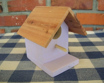 Cedar Birdhouse - Lavendar, Small, Decorative - Garden, Deck, Porch, Outdoor Decorating