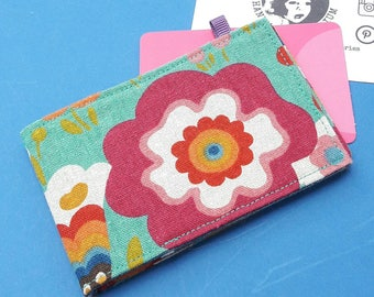 Oyster Card and Contactless Card wallet - psychedelic flowers Japanese fabric. Credit card holder.