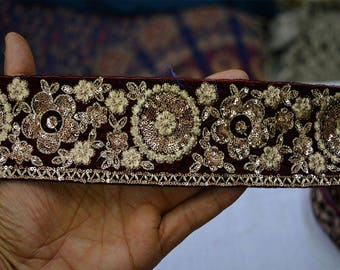 Maroon Velvet Fabric Trim By The Yard Indian Embroidered Laces and Trims Saree Border Wholesale Trimmings Ribbon Indian Sari Border gold