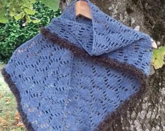 Wool shawl soft blue JEAN Brown fur trimmed hand crocheted Alpaca for fall