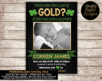 St Patricks Day Birth Announcement