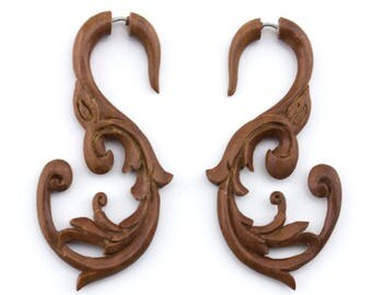 Wooden Nakoda Swirl Hanging Fake Gauge Earrings