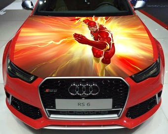 Vinyl Car Hood Full Color Graphics Decal Running Flash Superhero Sticker