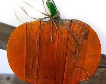 ON SALE Wooden Pumpkin Decor - Wood Pumpkin Door Hanger - Rustic Halloween Decor - Thanksgiving Decor - Primitive Fall Decor - Front Door De