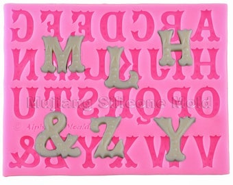 Letter Alphabet Silicone Mold - Circus Alphabet Mold -  Letters fondant Mould - DYI - SM0224