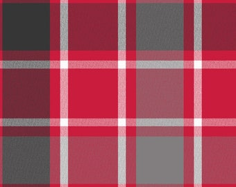 Red Plaid Flannel, Quilting Fabric, Red/Gray/White, Clothing/Apparel Fabric, Sewing Material, Home Decor/Craft Supplies, Yard/Half Yard