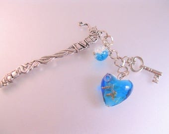 Teapot & Cups Hand Made Personalized Book Mark Tea Drinker w/Turquoise Colored Heart Bead