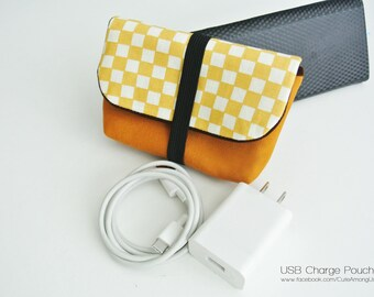 Brown Gingham Charger & Cable Storage, Cellphone Charger Holder, USB Cable Case, Traveller Gadget Organizer, Cable Holder - Made to Order