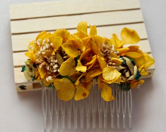 Hydrangea,mustard,yellow,dried,flowers,comb,dried flowers, flower comb,hair comb, wedding,