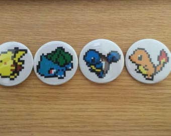 58mm pixel pokemon starter badges!