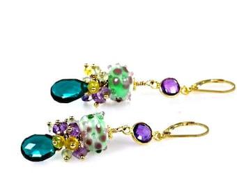 Alicia Lampwork Violet Flowers, Peacock Teal Blue Quartz, Amethyst and Opal Dangle Earrings, Colorful Gemstone Cluster Earrings