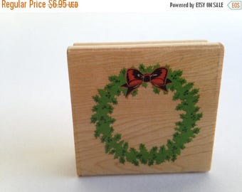 Christmas Wreath - Happy Holidays - Christmas Vintage Rubber Stamp - Card Making - Crafts ~ 161012B