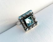 Secrets of the Ocean - Blue Topaz Silver Ring