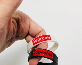 Supreme Silicone Wristband Black and White Supreme Rubber Bracelet Supreme Bracelet