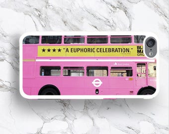 iPod Touch 6th Gen Pink Bus Case, iPod 6 Retro London Pink Routemaster Classic Bus, Funny UK Souvenir iTouch 6G 5th gift for her
