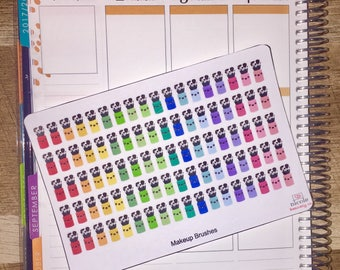 Rainbow Kawaii Makeup Brushes Planner Stickers for use with Erin Condren Life Planner and other planners
