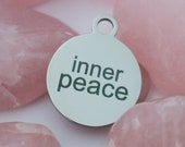 set of 4, inner peace, word charm, circle disc, laser engraving, stainless steel, 20mm x 20mm, gift tags, peace charm, inner peace,
