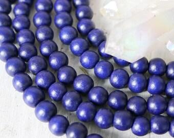 8mm beads, round beads, wood beads, dark blue beads, blue beads, navy blue beads,