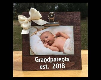 Grandparents est - New Baby Birth Announcement - Family Gift - Picture/Photo Clip Frame - Custom Made - Options Available!