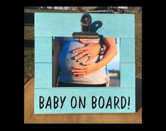 Baby on Board! - Pregnancy Announcement photo picture clip frame. We're expecting twins/triplets/baby surprise gift pregnant ultrasound