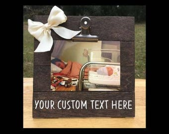 Custom Text - Pregnancy Announcement Gender Reveal picture clip frame. We're expecting twins/triplets/baby surprise gift pregnant ultrasound
